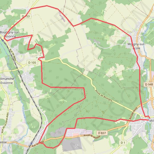 Milly la Foret Nord Ouest GPS track, route, trail
